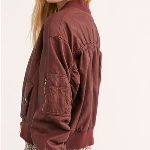Free People Snap our of it Vegan bomber jacket